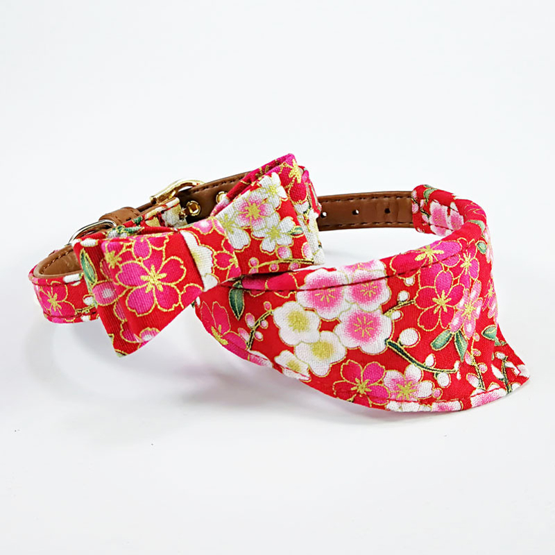 Red Flower Cherry blossoms Japanese style dog collar bow tie pet pupply product dog & cat collar towel leash set necklace S