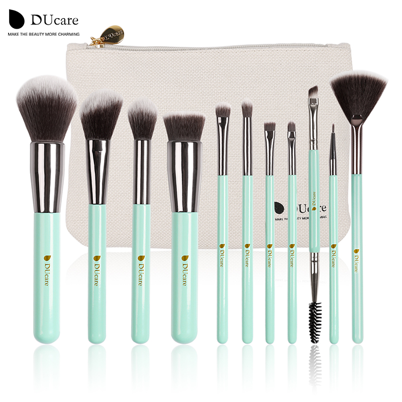 цены DUcare 11pcs Makeup Brushes Kit Set Powder Foundation Eyeshadow Eyeliner Lip Brush Tool mint green soft Synthetic Hair