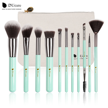 DUcare 11pcs Makeup Brushes Kit Set Powder Foundation Eyeshadow Eyeliner Lip Brush Tool mint green soft Synthetic Hair