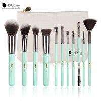 DUcare 11pcs Makeup Brushes Set Powder Foundation Eyeshadow Eyeliner Lip Brush Tool Mint Green
