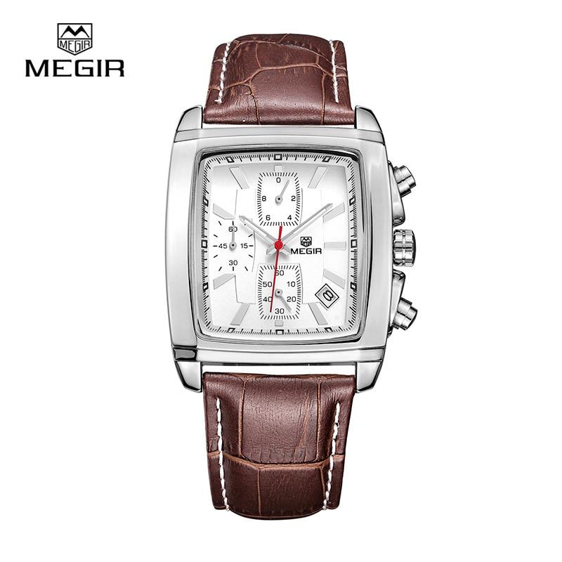 MEGIR Chronograph Function Men's Watch Leather Luxury Men's Top Brand Military Quartz Watches Relogio Masculino ML2028K