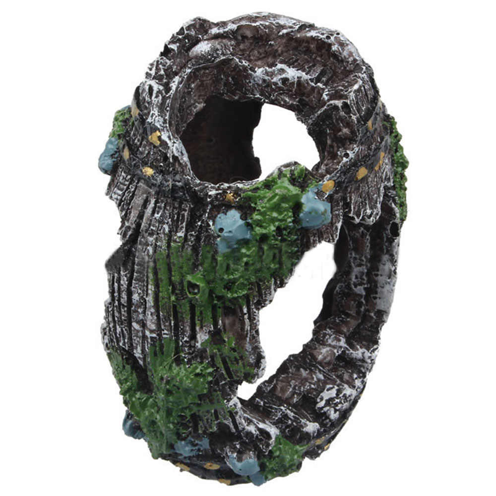 1 pc aquário artificial barril resina ornamento caverna para o tanque de peixes paisagismo decoração