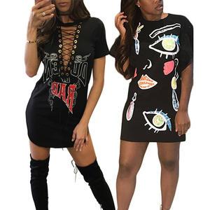8174c44581 Ursohot Print Sexy Mini Women Casual Party Summer Dresses