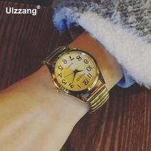Venta caliente de Plata de Oro de Acero de Primavera Hombres Mujeres Ronda Dial Analógico de Cuarzo Reloj de Pulsera Relojes de pulsera