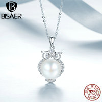 BISAER 925 Sterling Silver Vivid Owl Glittering CZ Freshwater Pearl Pendant Necklaces For Women Sterling Silver