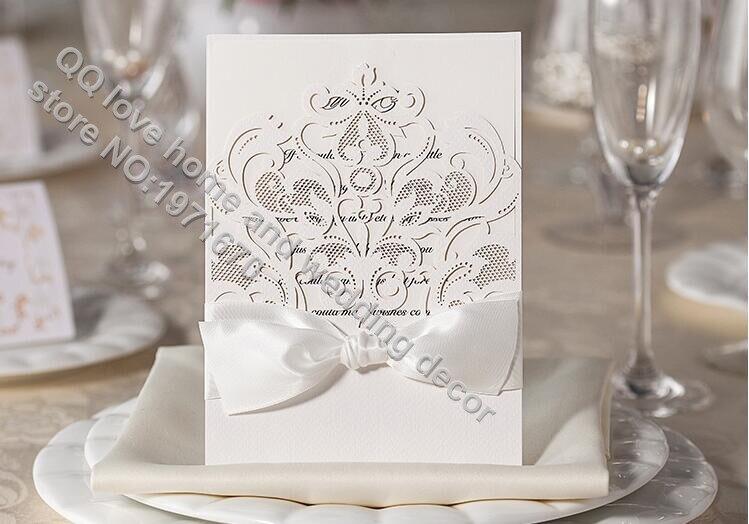 100Pcs/Lot Wholesale Pearl White Wedding Invitation Envelope Invitaciones  De Boda Laser Cut Wedding Invitation