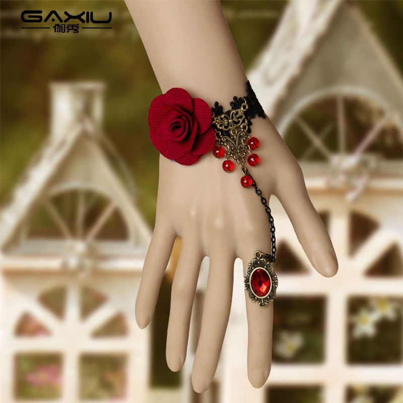 Gothic Indian Finger Bracelet Bangles Women Red Flower Beads Lace Hand Chain Harness Bracelet Metal Lady Vintage Charm Jewelry bracelet