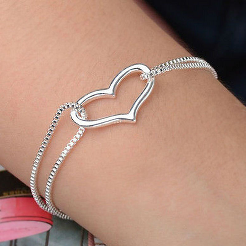 Fashion Delicate Crystal Heart 925 Sterling Silver-Color Jewelry Best Gift Beautiful OL Party Hand Catenary Bracelet Jewelry