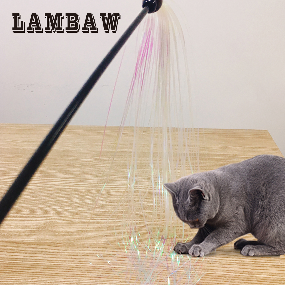 Lambaw Cat Teaser Cat Toy Interactive Feather with Paper Pet Products-Curly reflective Paper with Feather-LBCT-0003
