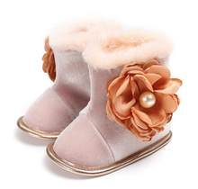 Toddler Infant Winter Flock Snow Boots For Baby Girls Boys First Walkers Super Warm Flower Moccasins Soft Bottom Boots(China)