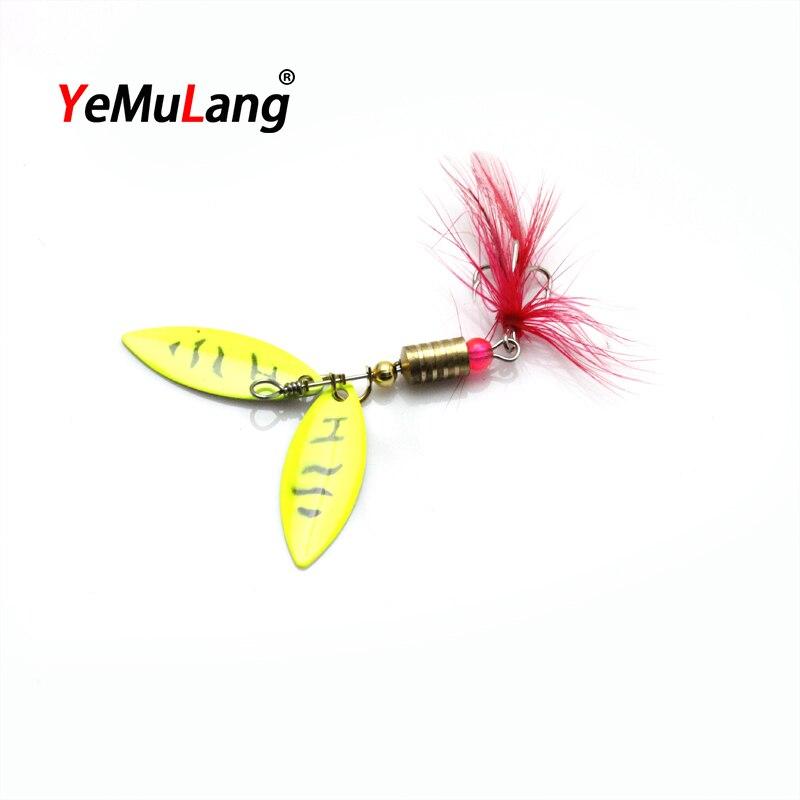 YeMuLang 1 pieza 4.5 g Amarillo Doble Lentejuelas Duro Duro de Metal - Pescando