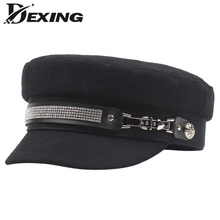 9fdb50bf Trendy PU Leather Belt Military Hat Spring Wool Sailor Hat for Women Black  Flat Top Drill