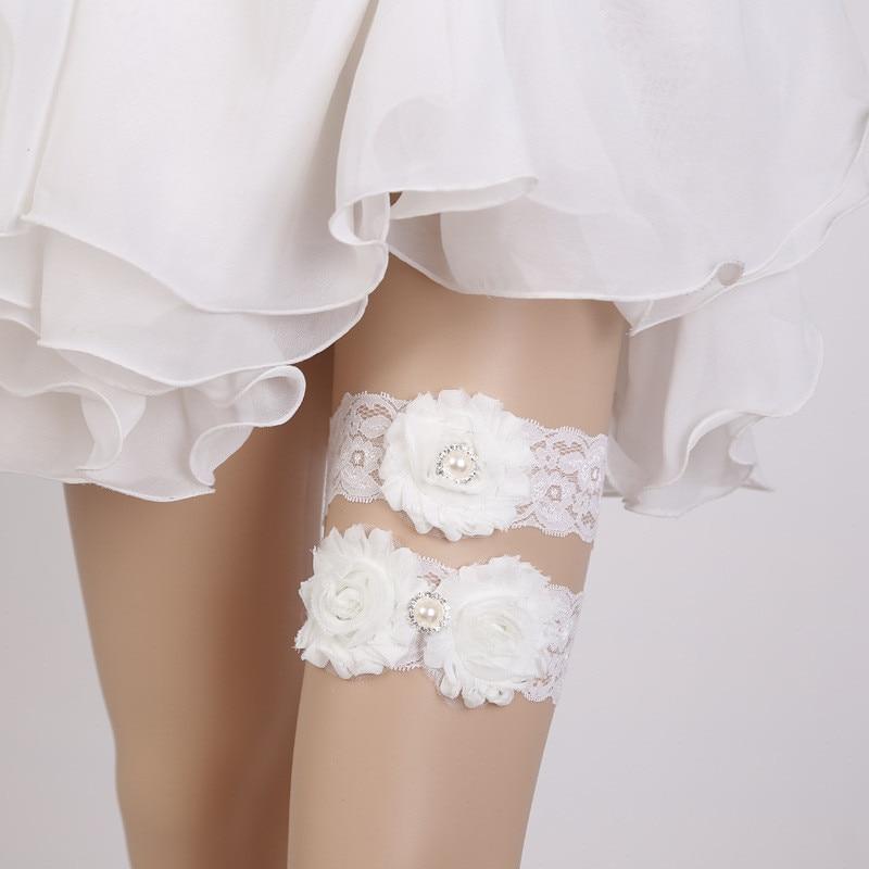 Sexy Women Bridal Garter Lace Floral Bow Pearl Wedding Party Bride Lingerie Cosplay Leg Garter Belt Suspender for Girl GPD