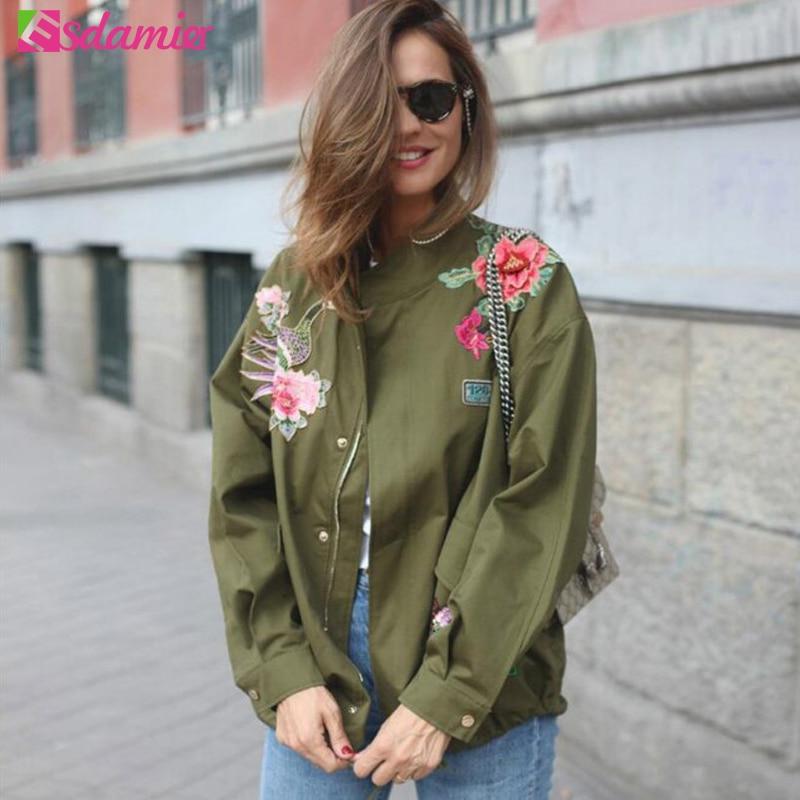 Army Green Basic Jacket Women Embroided Military Jacket Fashion
