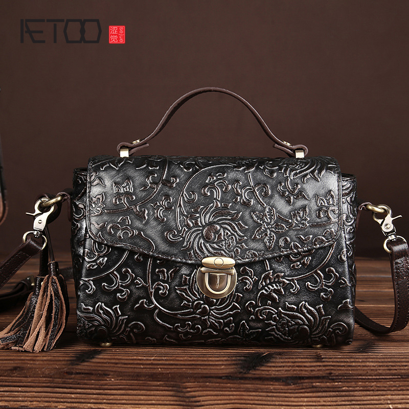 AETOO 17 new hand-wiping handbags Korean version of the simple retro casual bag shoulder bag women vintage Messenger bag tassel popular handbag women simple shoulder bag vintage hand bag retro korean style 3 classic color satchel bag leisure locomotive bag