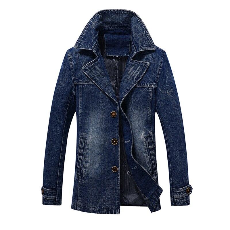 Idopy Для мужчин джинсовые Тренч длинные ковбойские Стиль Бизнес Винтаж мыть Slim Fit Джинсы для женщин куртка для мужчин