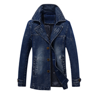 Idopy Men`s Denim Trench Coat Cowboy Long Style Business Vintage Washed Slim Fit Jeans Jacket For Male