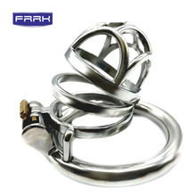 FRRK  304 Stainless Steel Cock Cage Penis Ring Chastity Device catheter with Stealth New Lock Adult Sex Toy