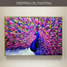 New Painting Beautiful Colors Animal Peacock Oil Hand-painted Colorful for Living Room Decoration