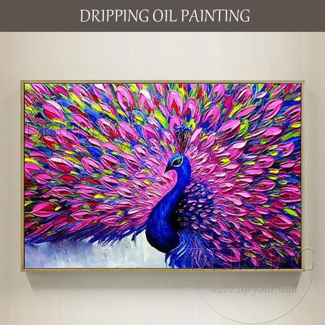 New painting beautiful colors animal peacock oil painting - Oil painting ideas for living room ...