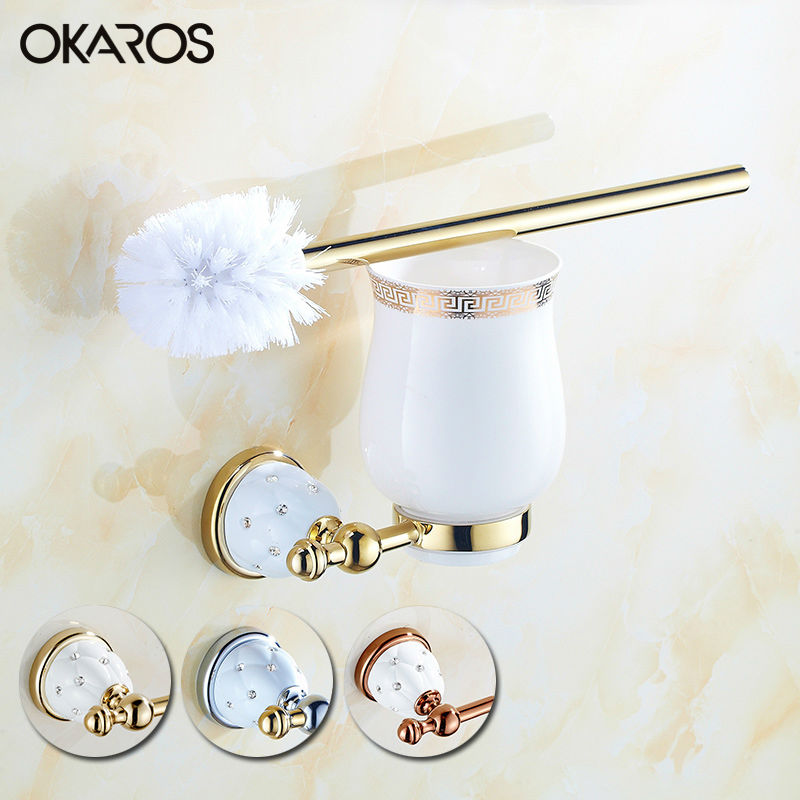 OKAROS Wall Mounted Toilet Brush Holder With Ceramic Cup Diamond Decoration Solid Brass Golden Chrome Finished Bathroom Hardware diamond ceramic base golden brass bathroom toilet paper holder wall mounted
