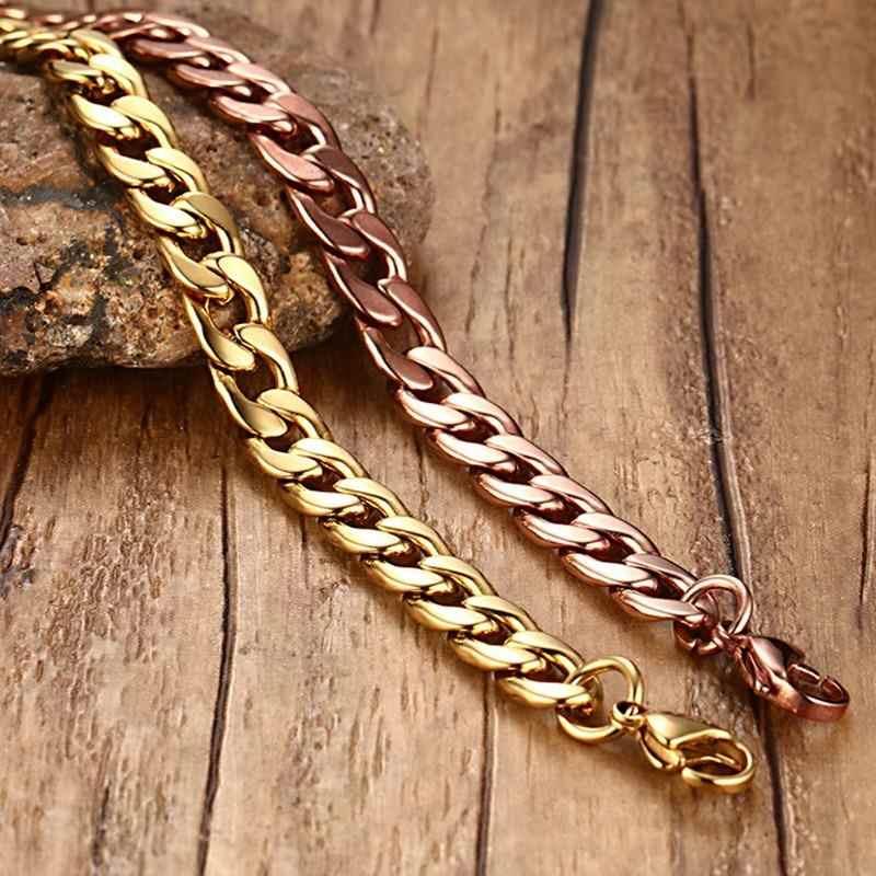 גברים היפ הופ לרסן קובני קישור שרשרת צמיד זהב נירוסטה Braslet זכר תכשיטי אבזרים