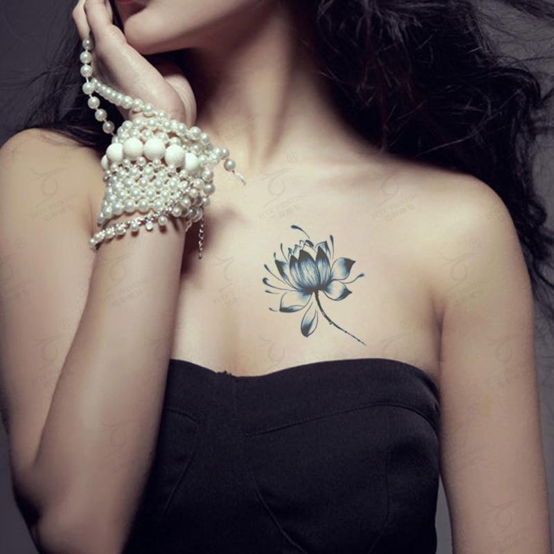 Temporary Tattoo Blue Lotus Sticker Waterproof Sexy Flower