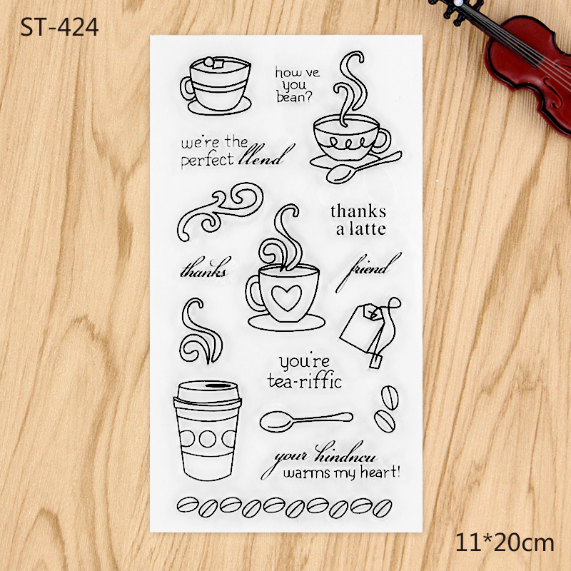 Tea and Coffee Transparent Clear Stamp For DIY Scrapbooking Decorative card making craft Fun Decoration Supplies lovely animals and ballon design transparent clear silicone stamp for diy scrapbooking photo album clear stamp cl 278