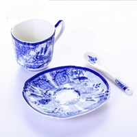 Blue and White Ceramic Glaze Colored Coffee Cup Creative Gift Bone Porcelain Cup Spoon Coffee Cup Set Business Gift