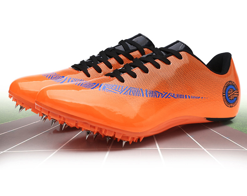 Мужские и женские спортивные кроссовки с шипами на шнуровке для подростков; спортивные кроссовки с шипами; цвет оранжевый, зеленый; мужские кроссовки для бега; спортивная обувь