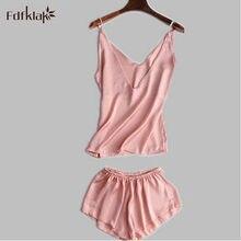 4f382d313877a1 2017 nowy lato jedwabne piżamy kobiety Sexy dekolt w serek spodenki piżama  Femme Slim damska bielizna