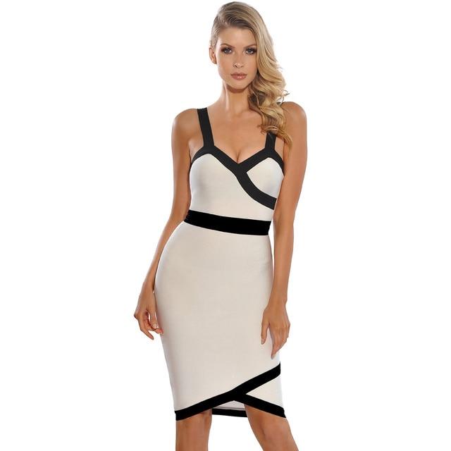 94544b02c6c Gorgeous Curve Patchwork Black Line Spaghetti Strap Sheath Buttocks Bandage  Celebrity Party Dress