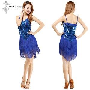 Image 2 - Latin Dance Dress Sexy Fringe Women Dance Costumes New Fashion Sleeveless Sequin Dress Performance Clothing cheap