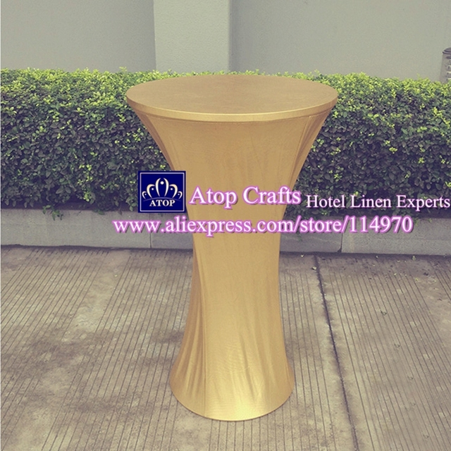 10pcs Metallic Gold Stretch Spandex High Bar Table Covers Bronzing Lycra Tail Cloths For Wedding Event Decoration