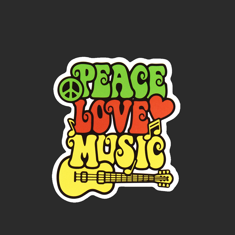 Peace Love Cartoon Single Music Stickers Fridge Skateboard Graffiti Notebook Sticker Waterproof DIY Decals A15