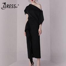 INDRESSME, облегающий комплект, летнее платье, 2 предмета, набор, черный, нестандартный, на одно плечо, топ, юбка, наборы, сексуальные женские, Vestidos