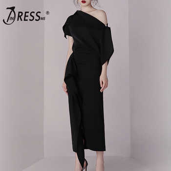 INDRESSME Bodycon Set Summer Dress 2 Two pieces Set Black Irregular One Shoulder Top Skirt Sets  Sexy Women 2019 Vestidos - DISCOUNT ITEM  42% OFF All Category