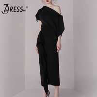 INDRESSME Bodycon Set Summer Dress 2 Two pieces Set Black Irregular One Shoulder Top Skirt Sets Sexy Women 2019 Vestidos