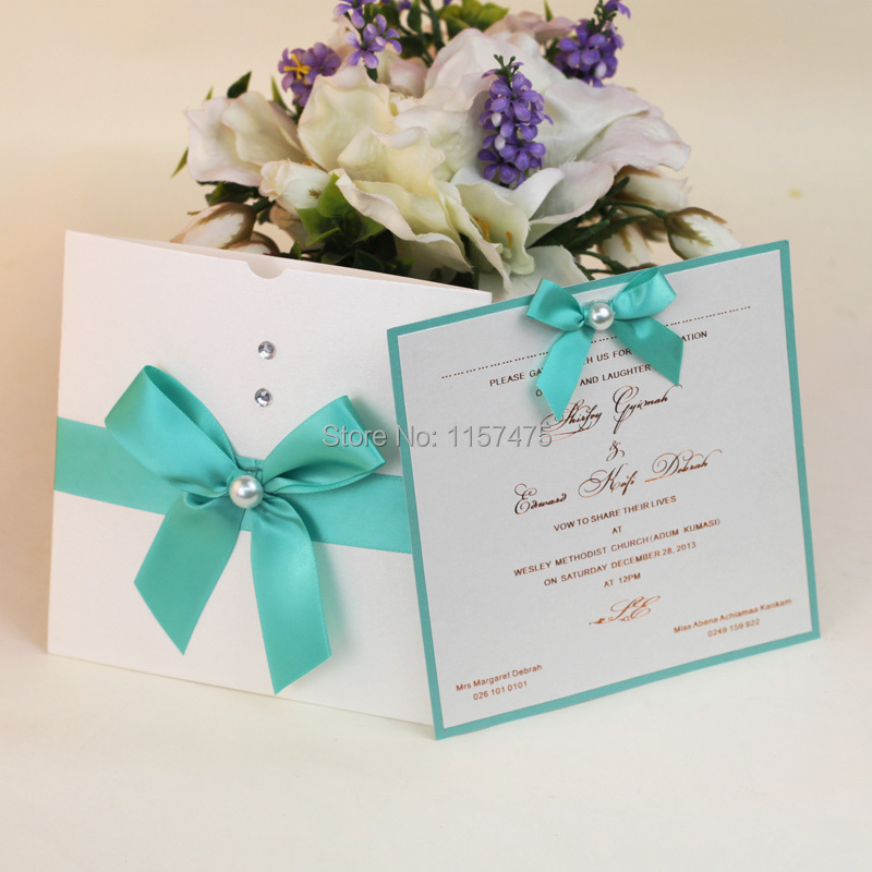 Us 250 0 Hi1012 Fantastic White Pocket Wedding Invitations With Ribbon And Pearls In Cards From Home Garden On Aliexpress