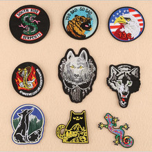 Circular Brave Animal Badge Repair Patch Embroidered Iron On Patches For Clothing Close Shoes Bags Badges Embroidery DIY