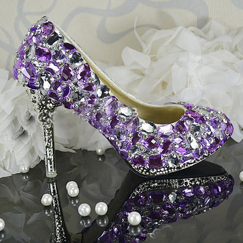 Woman High Heels Wedding Dress Shoes Purple Crystal Bridal