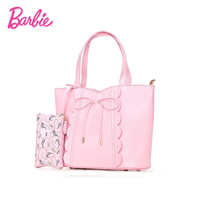 Barbie Women Handbags Modern pink leather Bags cute bow High Quality Sweet Female Bag with reasonable space brand design sweet girl s sandals with bow and velcro design
