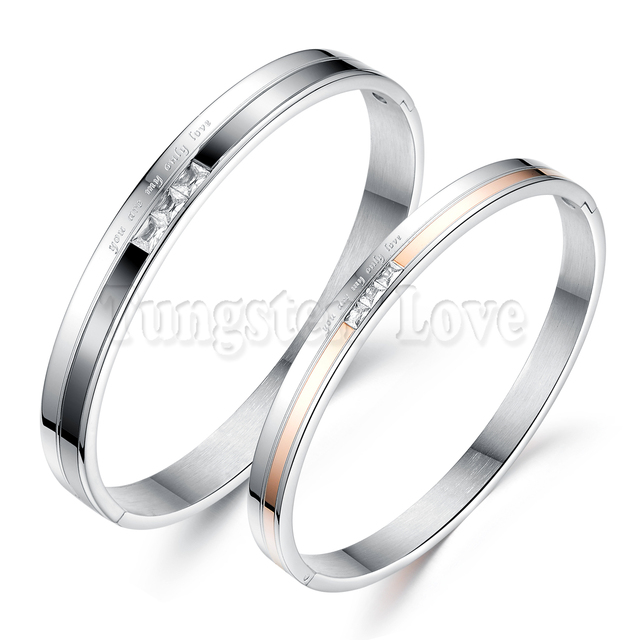 You are my olny love Stainless Steel Promise Bracelets Bangles with CZ stone For Couple Men Women Valentine's Day Gift pulseras