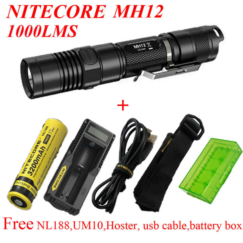 2015 Nitecore MH12 1000 lumens CREE XM-L2 U2 LED flashlight+ NL188 battery +UM10 charger+hoster+usb cable+battery box tinhofire 6870 cree xm l 2 2000 lumens l2 led flashlight torch light lamp micro usb input 5v charger with battery