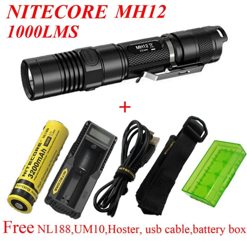 2015 Nitecore MH12 1000 lumens CREE XM-L2 U2 LED flashlight+ NL188 battery +UM10 charger+hoster+usb cable+battery box фонарь fenix tk35 2015 edition cree xm l2 u2 led
