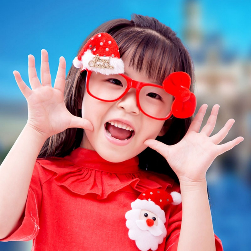 New Fashion 1Pcs Glasses For Home Party Christmas Tree Holders Room Shop Store Festival Santa Claus Toppers Decoration Kids Gift