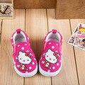 Hello kitty Детей Shoes Girls Shoes 2017 Новая Мода Скольжения Повседневная Дети Кроссовки Мягкой Подошвой Холст Ребенка Малыша Девушка Shoes