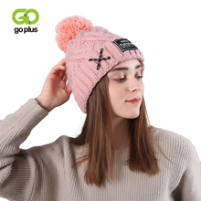 GOPLUS 2019 Winter Pompom Knitted Hat Women Brand New Fashion Lace up Skullies Beanies Girl Thick Cotton Warm Casual Cap Female