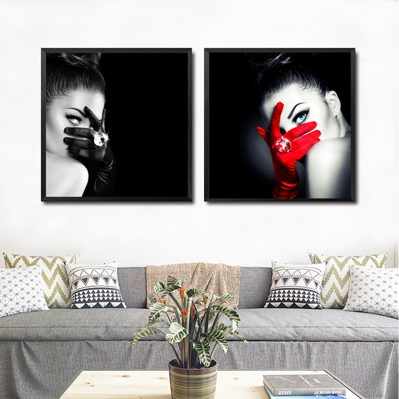 High Quality Make Up Fashion Wall Art Canvas Painting Black Red Art Picture Fashion Girl  Wall Pictures No Poster Frame HD2174 In Painting U0026 Calligraphy From Home ...