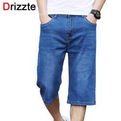 Drizzte по колено шорты плюс Размеры 28-44 летние джинсовые шорты легкий тонкий стрейч джинсовые мужские длинные шорты джинсы